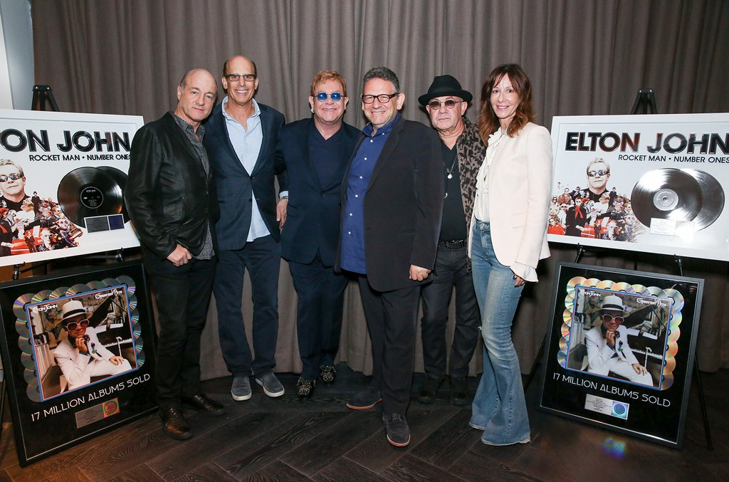 David Massey (President/CEO Island Records) Bruce Resnikoff (President/CEO UMe), Sir Elton John, Sir Lucian Grainge (Chairman/CEO Universal Music Group) Bernie Taupin and Jody Gerson (Chairman/CEO Universal Music Publishing Group)