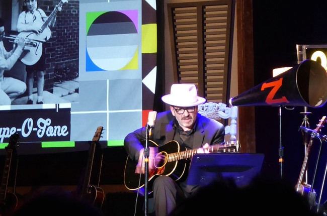 Elvis Costello in concert at The Theatre at Ace Hotel in Los Angeles.