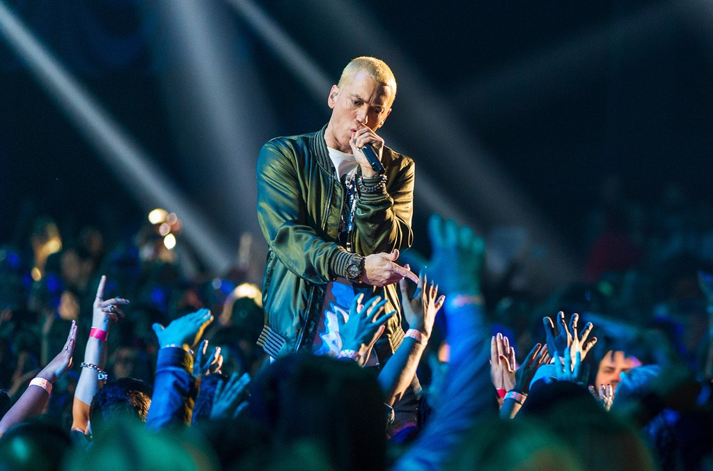 Eminem performs onstage at the 2014 MTV Movie Awards at Nokia Theatre L.A. Live on April 13, 2014 in Los Angeles.