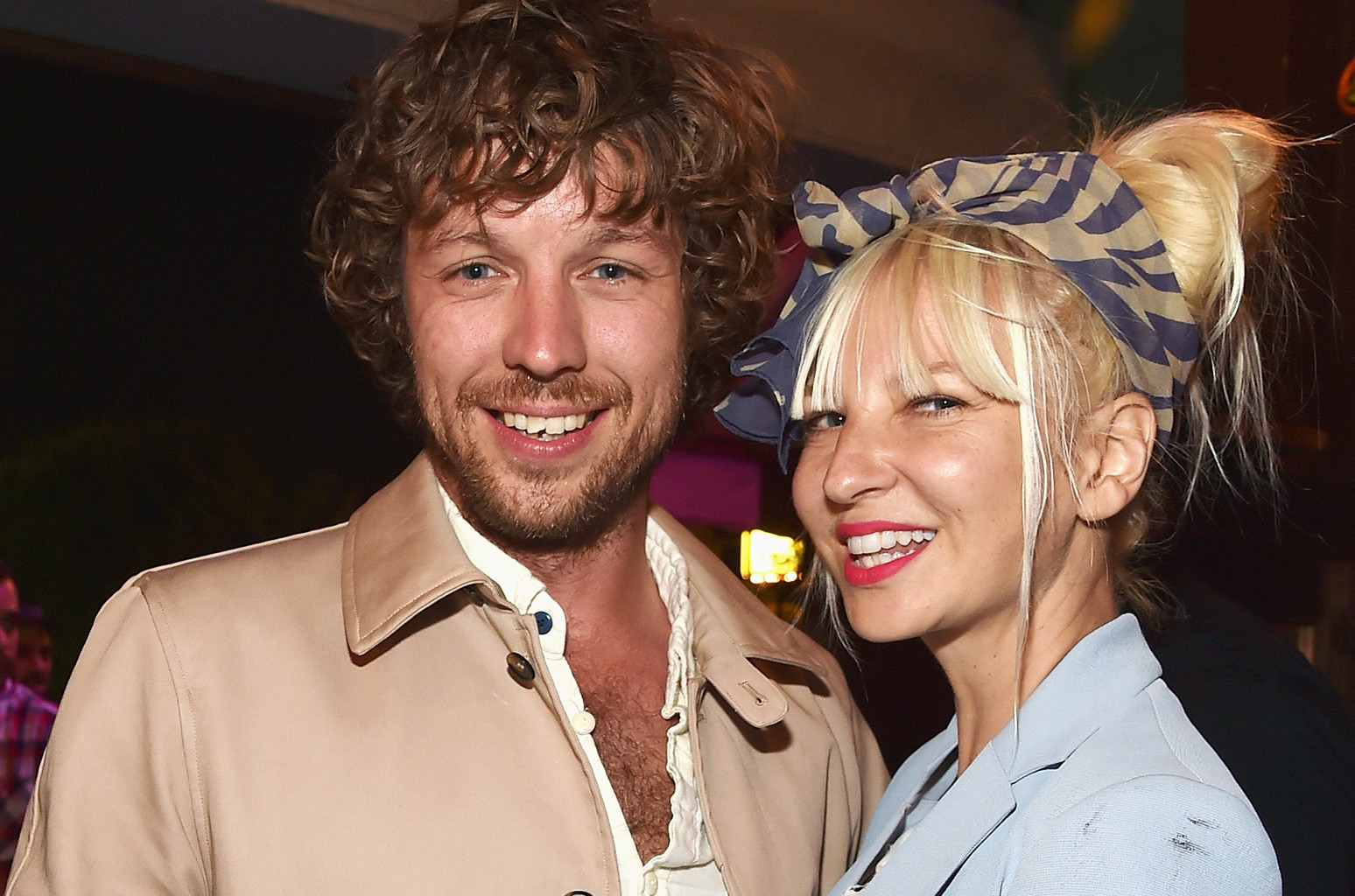 """Erik Anders Lang and singer Sia attend the after party for the premiere of RADIUS-TWC's """"The One I Love"""" at Umami Burger on Aug. 7, 2014 in Los Angele."""