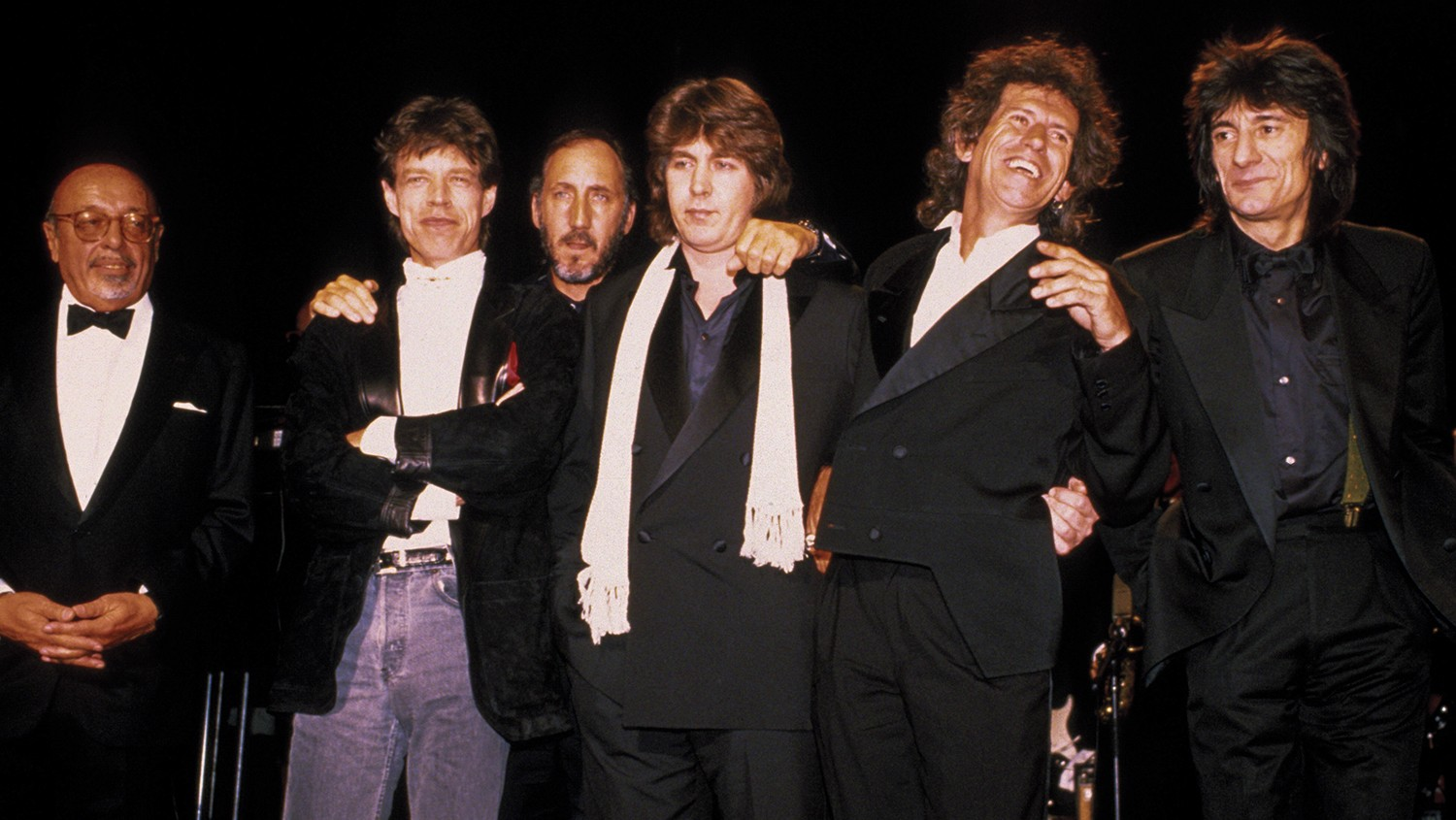 From left: Ertegun, Mick Jagger, Pete Townshend, Mick Taylor, Keith Richards and Ronnie Wood at the 1989 Rock Hall ceremony.