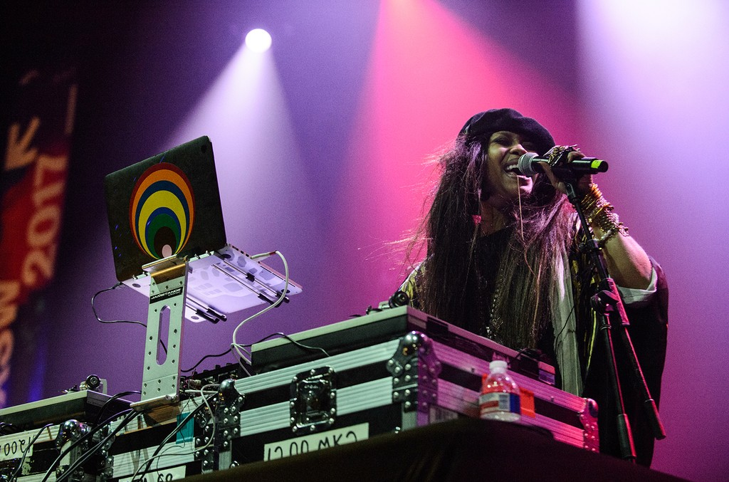 Erykah Badu performs live as DJ Low Down Loretta Brown at the We DC showcase during the SXSW Music Festival at the Moody Theater on March 14, 2017 in Austin, Texas.