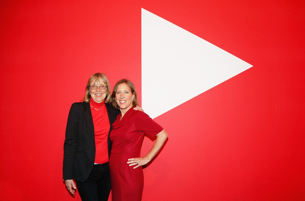 Esther Wojcicki and CEO of YouTube Susan Wojcicki at YouTube Brandcast presented by Google, 2016