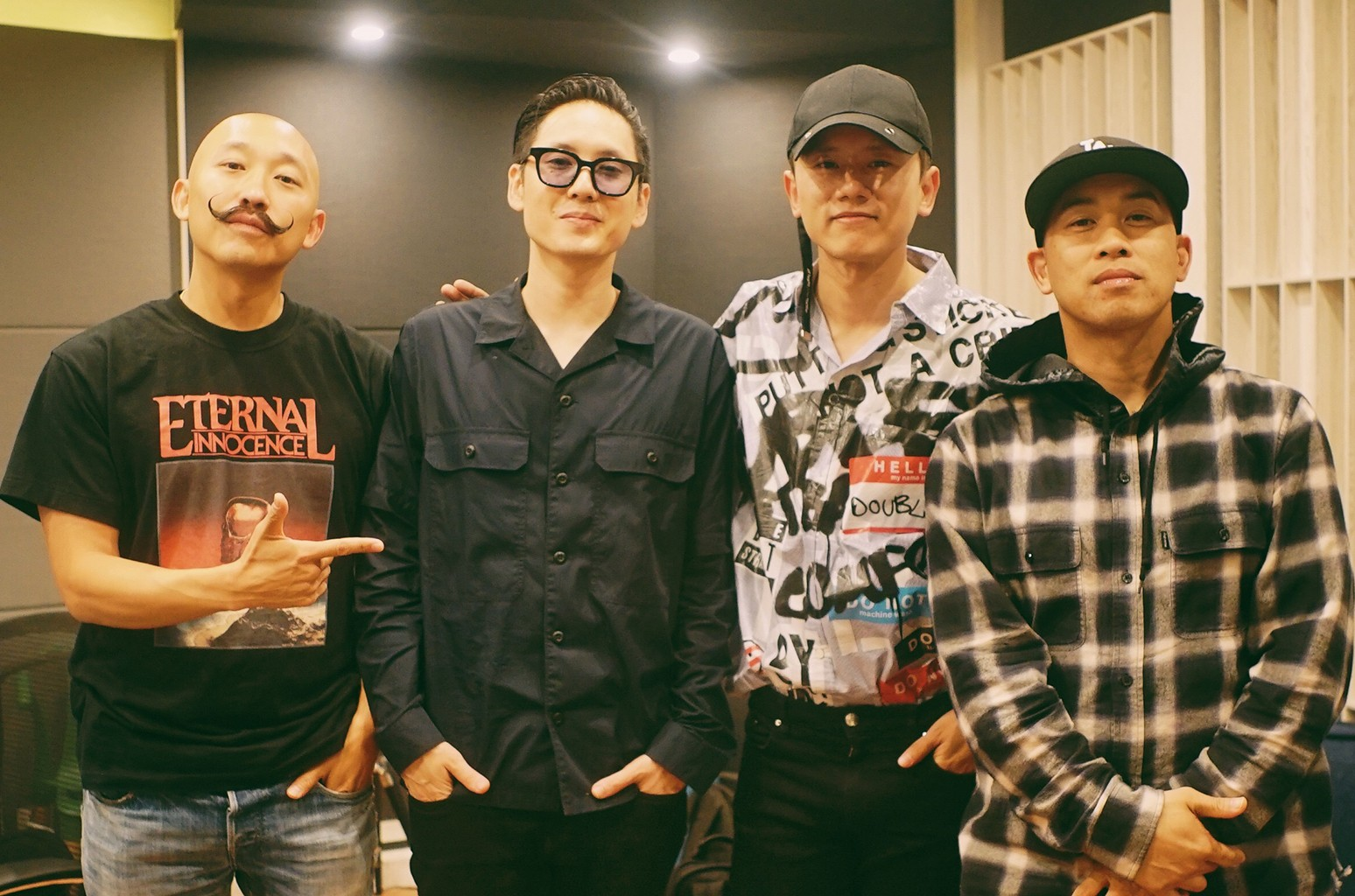 James Roh (Prohgress), Kevin Nishimura (Kev Nish), Jason Zhang and Virman Coquia (DJ Virman) at a recording studio in Shanghai, China.