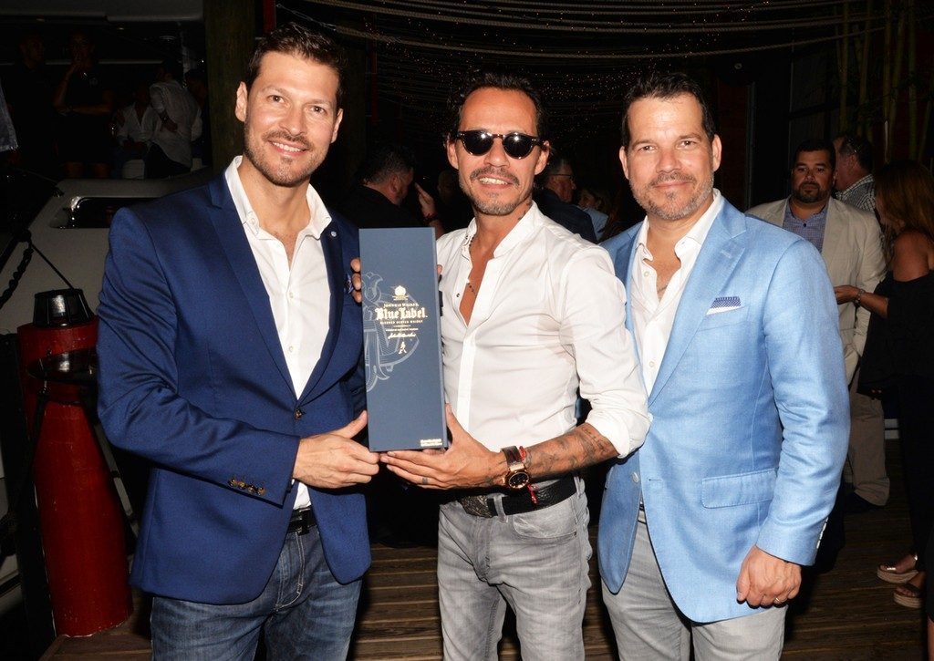 Felipe Pimiento, Marc Anthony, and Michael Vega celebrated with Johnnie Walker Blue Label at the Magnus All-Star Bash on July 11, 2017 in Miami.