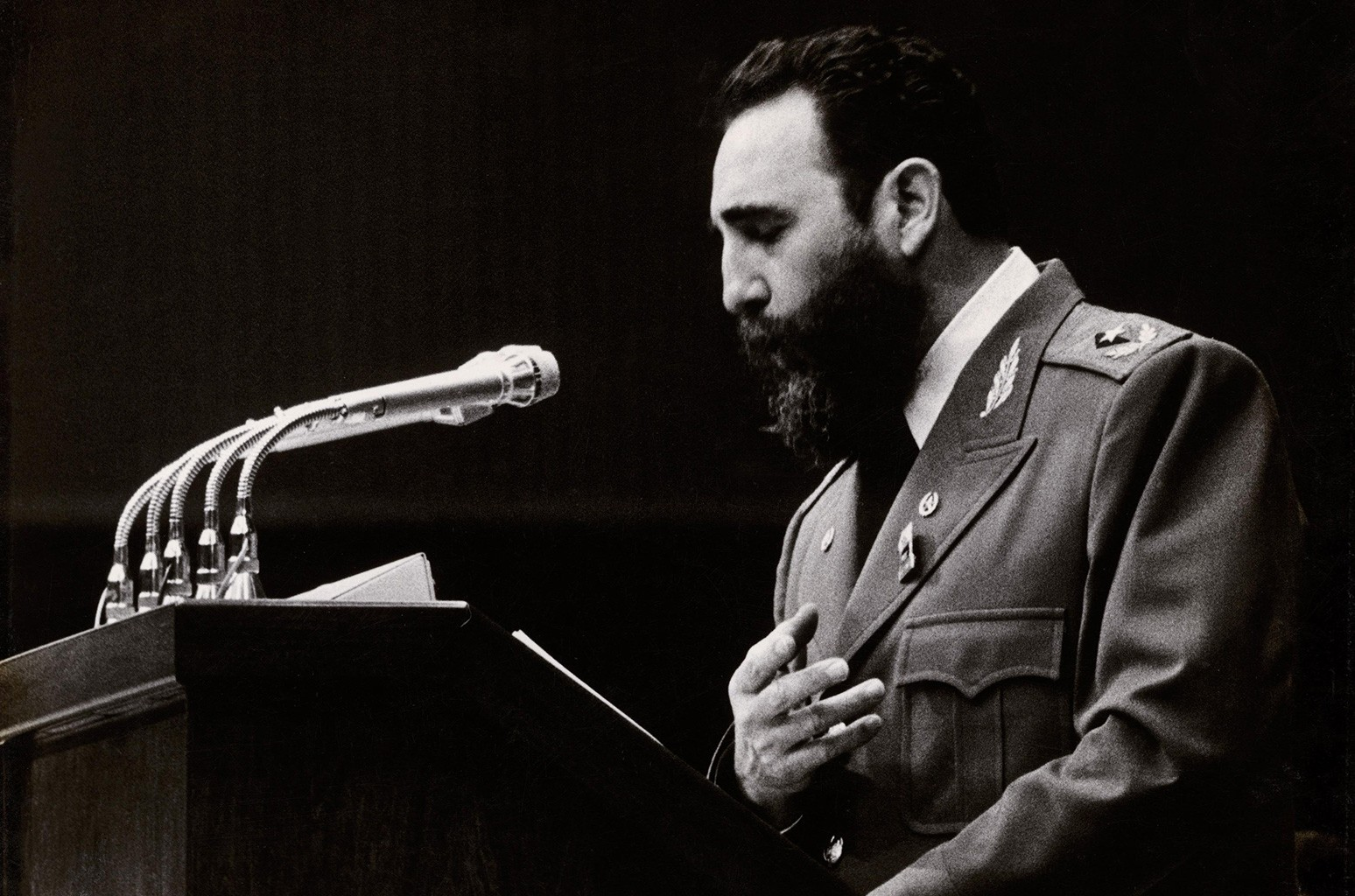 Fidel Castro photographed giving a speech around 1960.