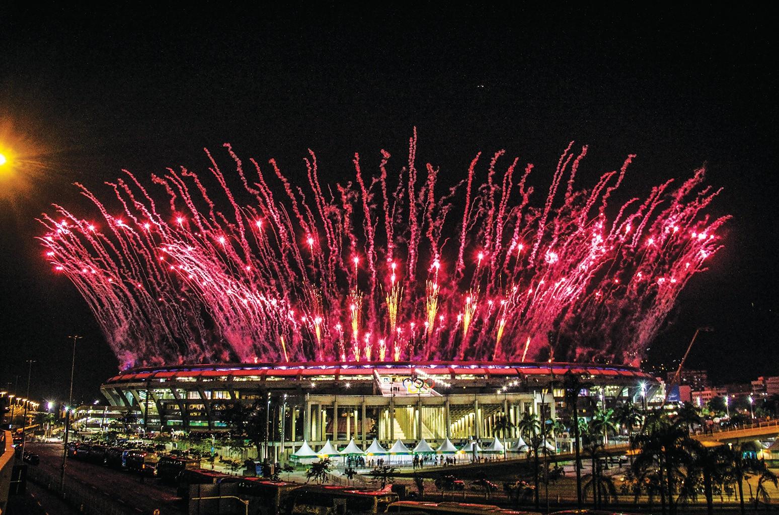 Fireworks at Rio de Janeiro's Maracana Stadium during the opening ceremonies of the Summer Olympics.