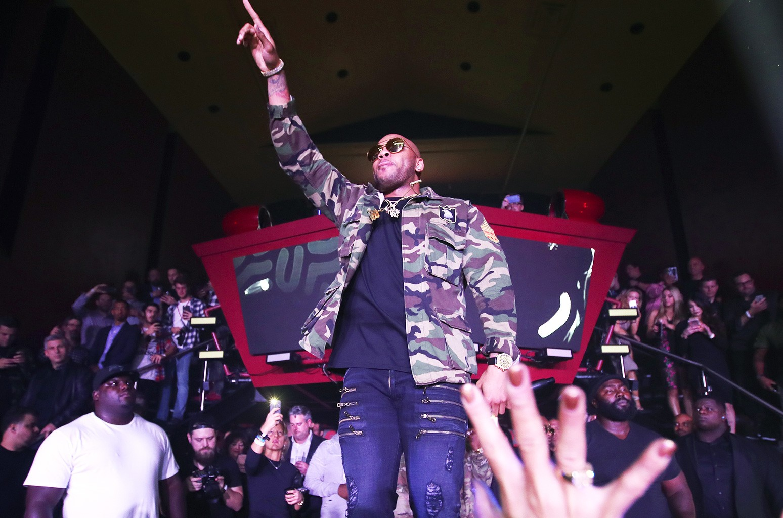 Flo Rida performs onstage during the Playboy party with TAO at Spire Nightclub on Feb. 4, 2017.