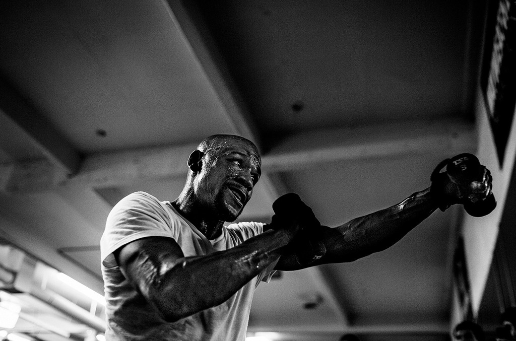 Floyd Mayweather trains at his gym on July 25, 2013 in Las Vegas.