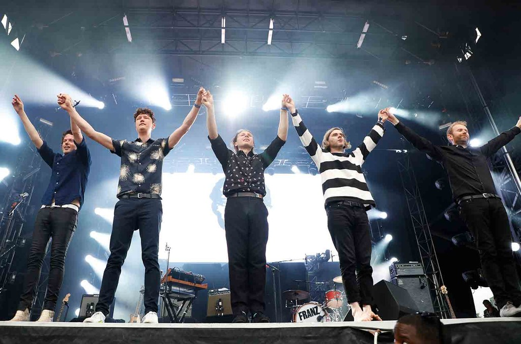 Dino Bardot, Miaoux Miaoux, Paul Thomson, Alex Kapranos and Bob Hardy of Franz Ferdinand performs live onstage during 2017 Governors Ball Music Festival - Day 3 at Randall's Island on June 4, 2017 in New York City.