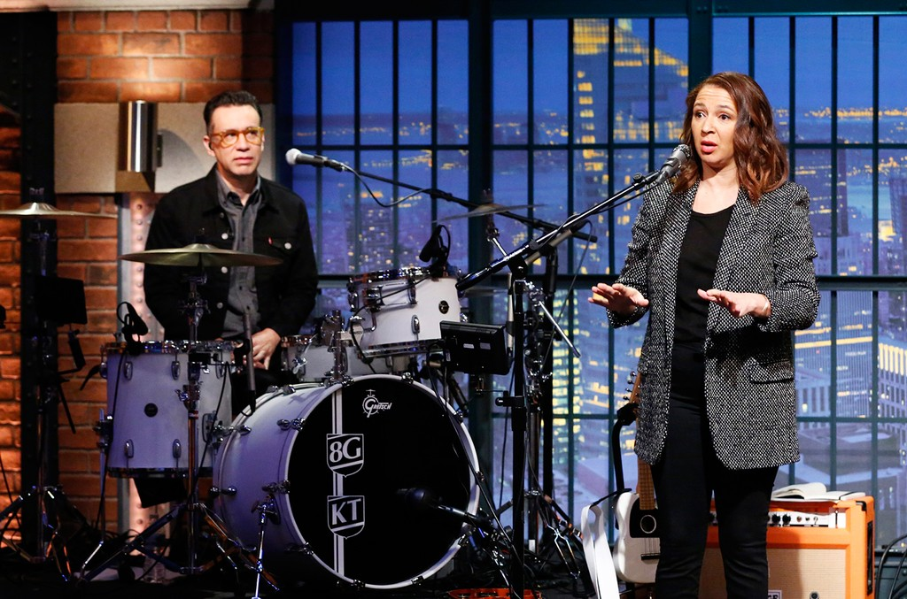 Fred Armisen and Maya Rudolph on Late Night with Seth Meyers on Jan. 6, 2015.