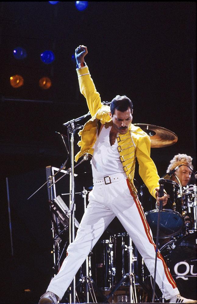 Freddie Mercury of Queen onstage at Wembley Stadium in 1986.