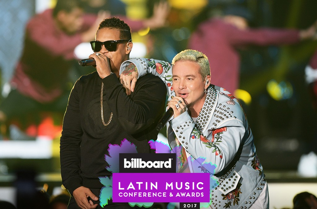 Fuego and J Balvin perform at the Billboard Latin Music Awards at Bank United Center on April 28, 2016 in Miami.