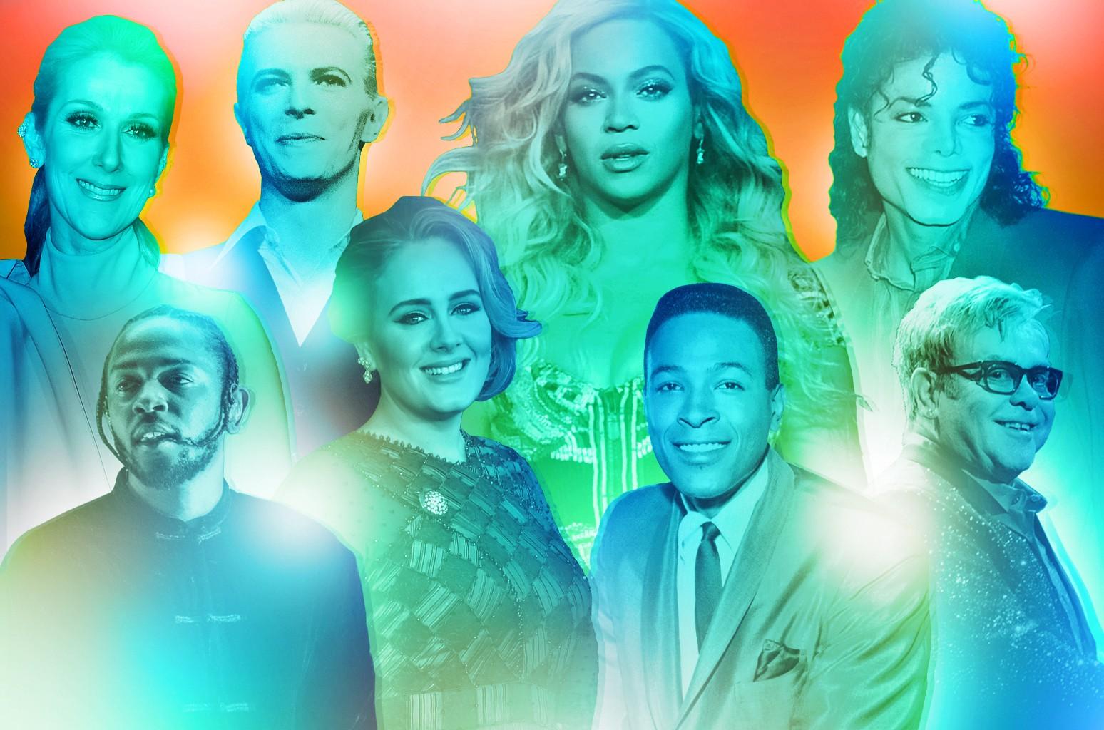Clockwise from top left: Celine Dion, David Bowie, Beyoncé, Michael Jackson, Elton John, Marvin Gaye, Adele & Kendrick Lamar