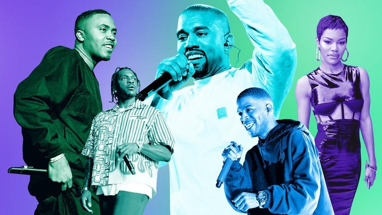 <p>(L-R) Nas, Pusha&nbsp&#x3B;T, Kanye West, Kid Cudi&nbsp&#x3B;&amp&#x3B; Teyana Taylor</p>
