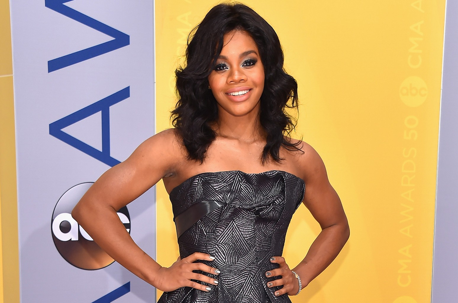 Gabby Douglas attends the 50th annual CMA Awards at the Bridgestone Arena on November 2, 2016 in Nashville, Tennessee.  (Photo by Michael Loccisano/Getty Images)