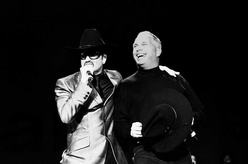 George Michael and Garth Brooks during Equality Rocks Concert at RFK Stadium on April 29, 2000.