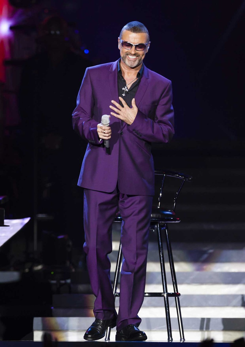 George Michael in concert at the LG Arena, Birmingham, Britain on Sept. 16, 2012.