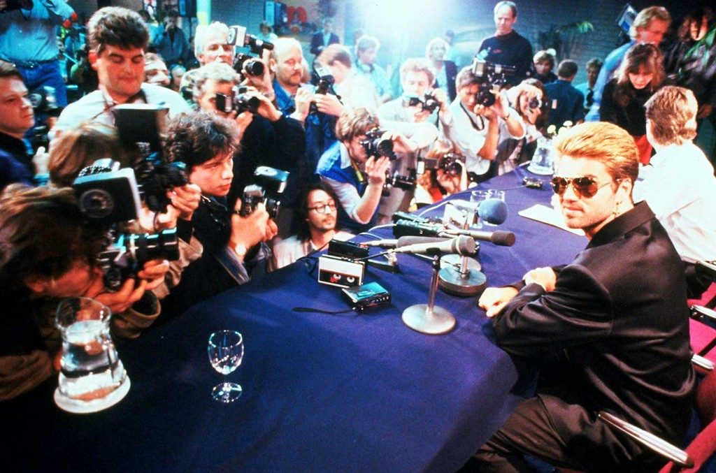 George Michael appearing in front of photographers at a press conference in Japan in March, 1988.