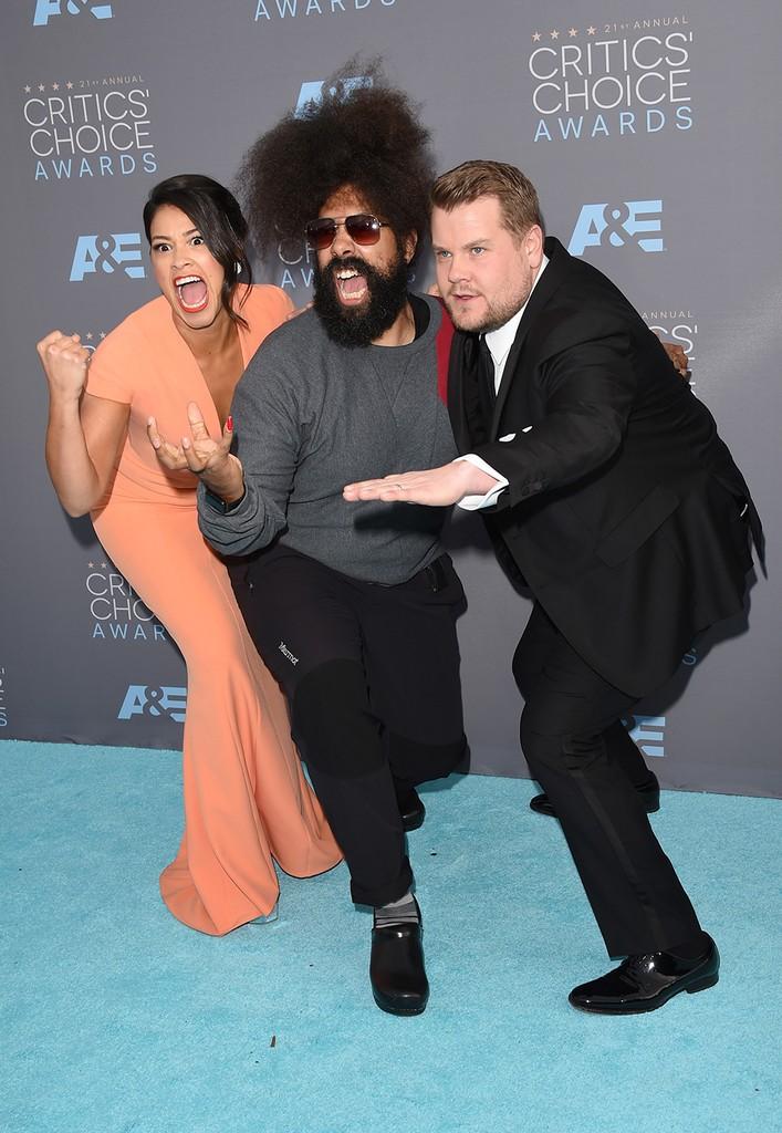 Gina Rodriguez, Reggie Watts and James Corden