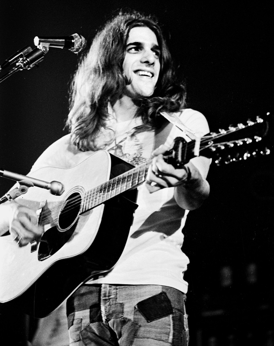 Glenn Frey of The Eagles performs on stage in 1974 in United States.