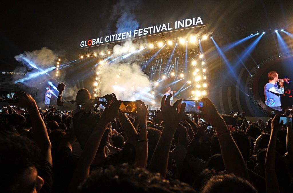 Coldplay performs at Global Citizen India at MMRDA Ground, BKC on Nov. 19, 2016 in Mumbai, India.