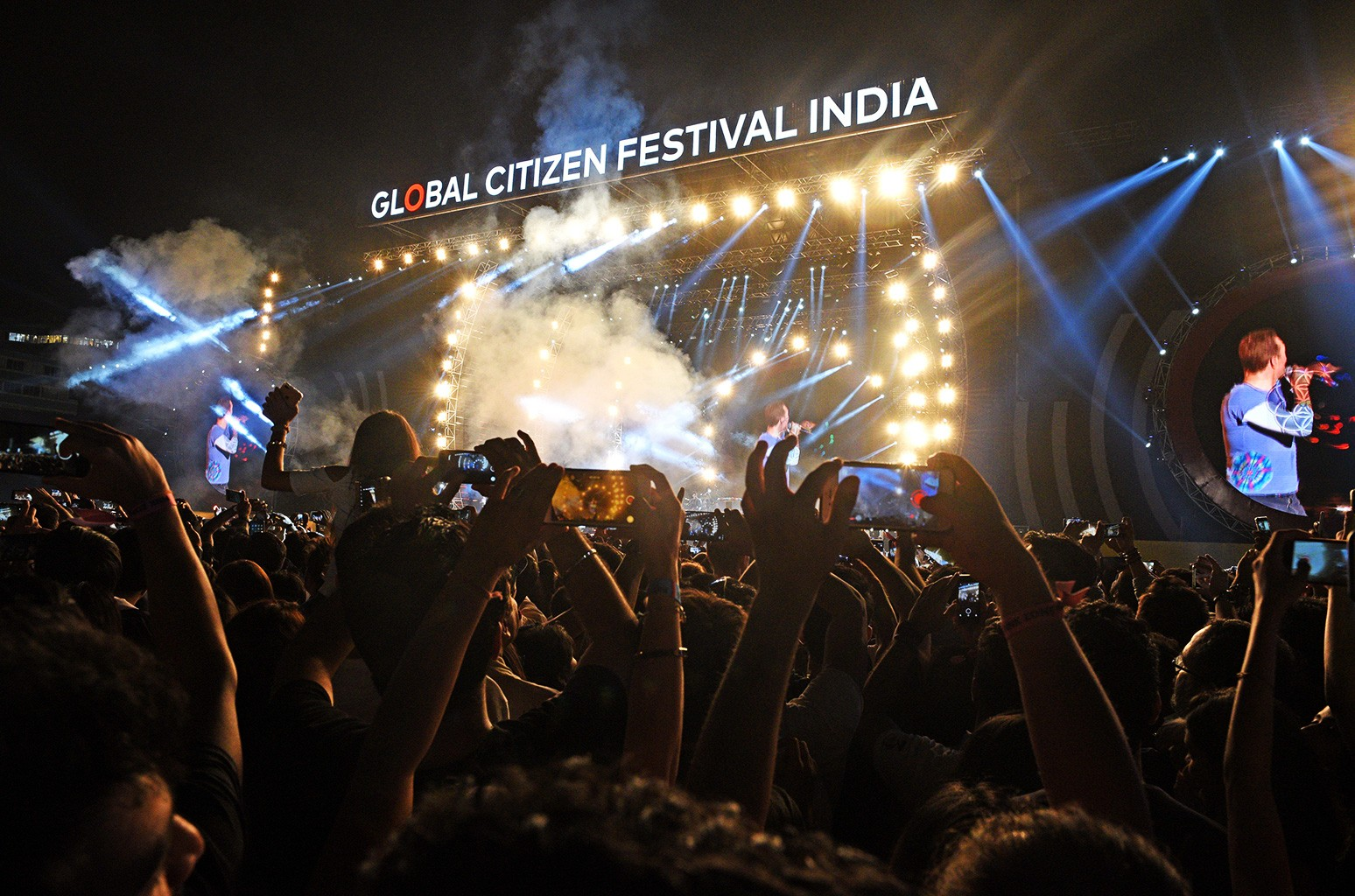 Coldplay performs at Global Citizen India at MMRDA Ground, BKC on Nov. 19, 2016 in Mumbai, India.
