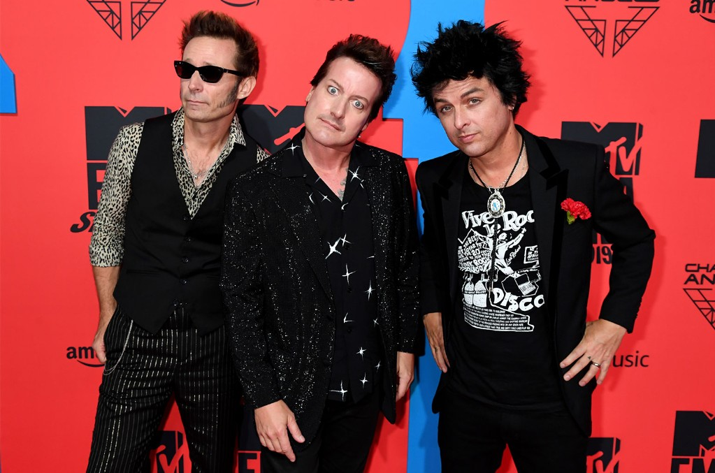 Tré Cool, Mike Dirnt and Billie Joe Armstrong of Green Day, 2019 EMA