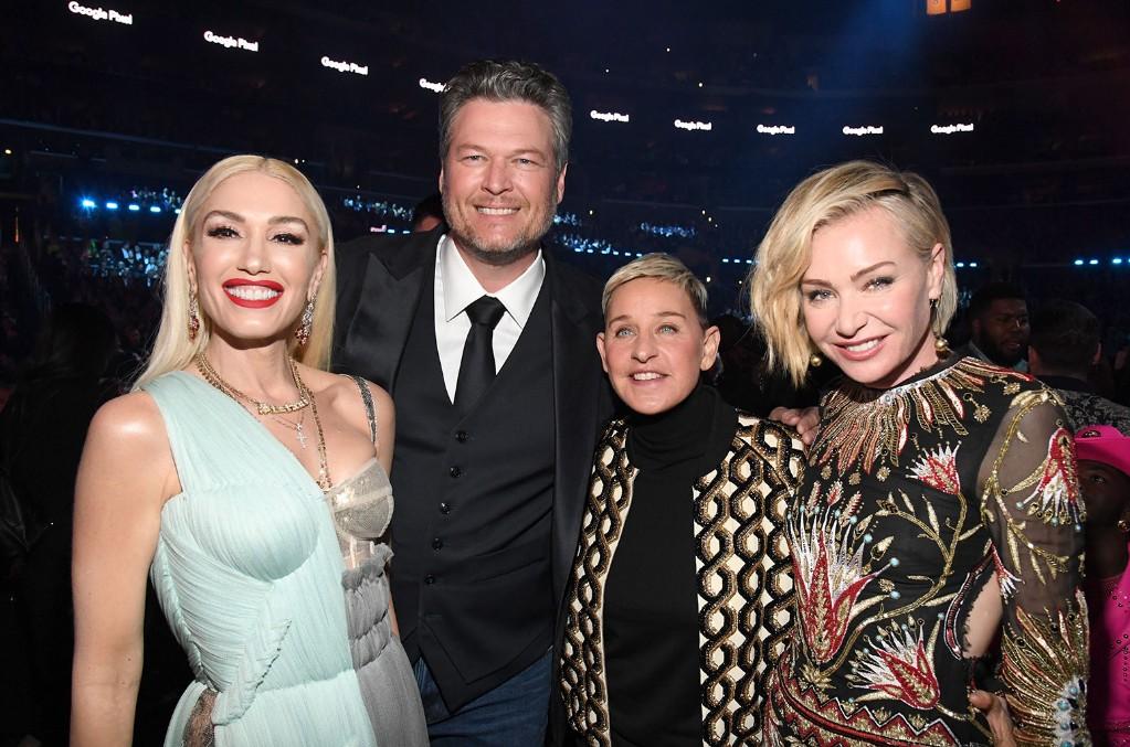 Gwen Stefani,  Blake Shelton, Ellen DeGeneres, and Portia de Rossi