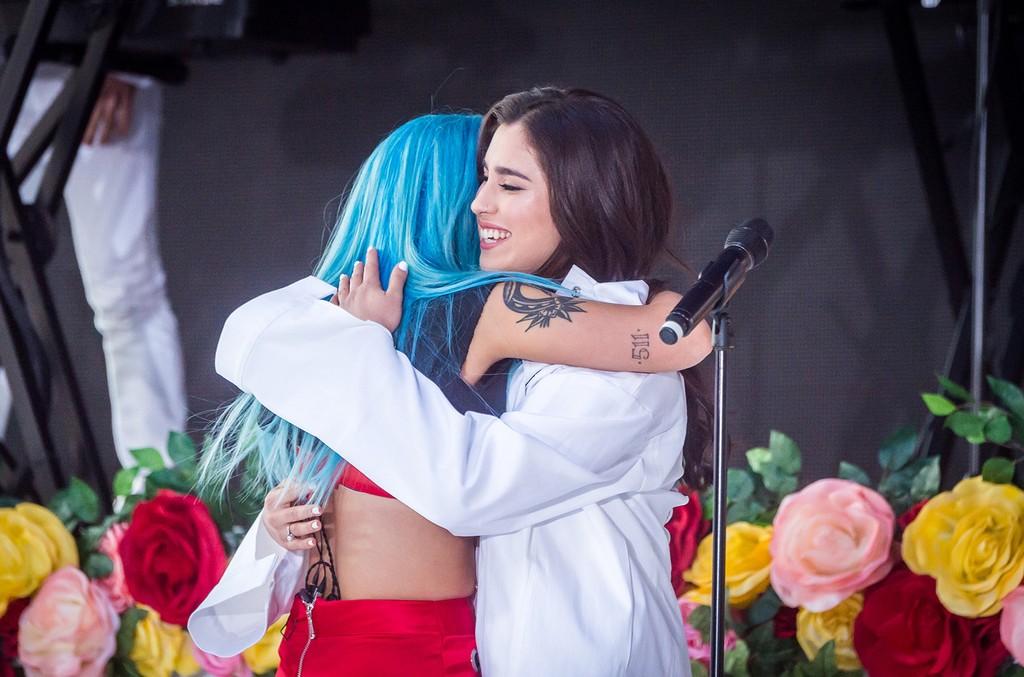 "Halsey and Lauren Jauregui, of Fifth Harmony, perform on NBC's ""Today"" at Rockefeller Plaza on June 9, 2017 in New York City."