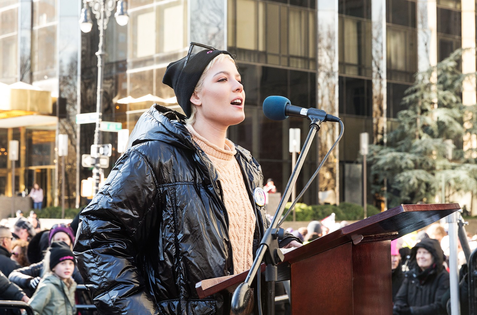 Halsey speaks at women's march in New York at Central Park West.