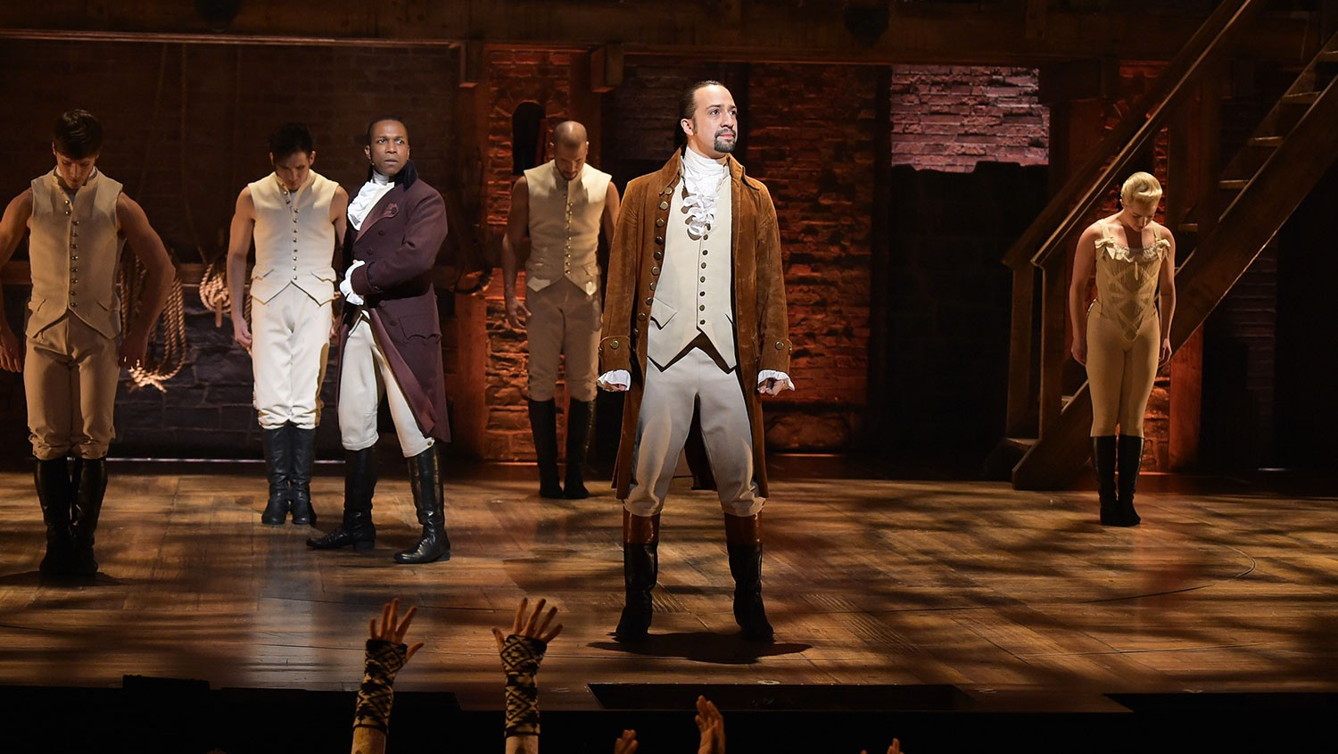 """Leslie Odom, Jr. and Lin-Manuel Miranda perform on stage during """"Hamilton"""" GRAMMY performance at Richard Rodgers Theater on Feb. 15, 2016 in New York City."""