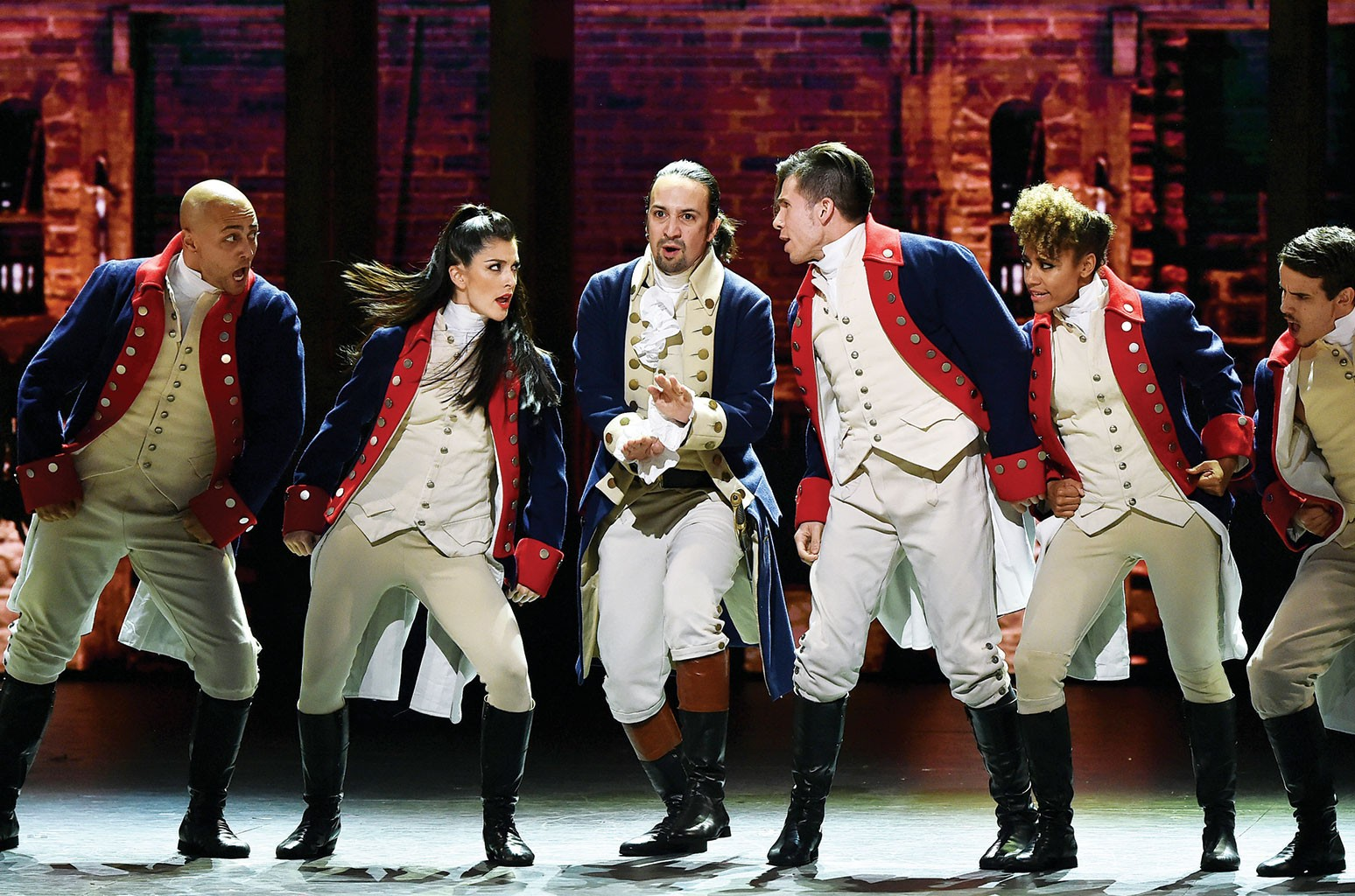 The cast of Hamilton at the Tony Awards on June 12.