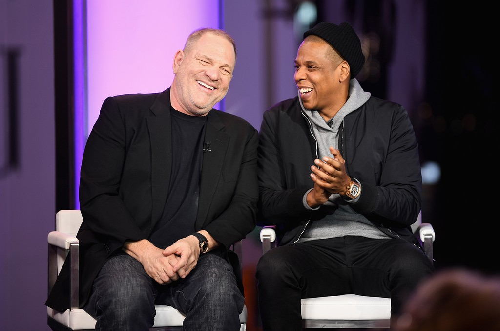Harvey Weinstein, and Jay Z speak onstage during TIME AND PUNISHMENT: A Town Hall Discussion with JAY Z and Harvey Weinstein on Spike TV at MTV Studios on March 8, 2017 in New York City.