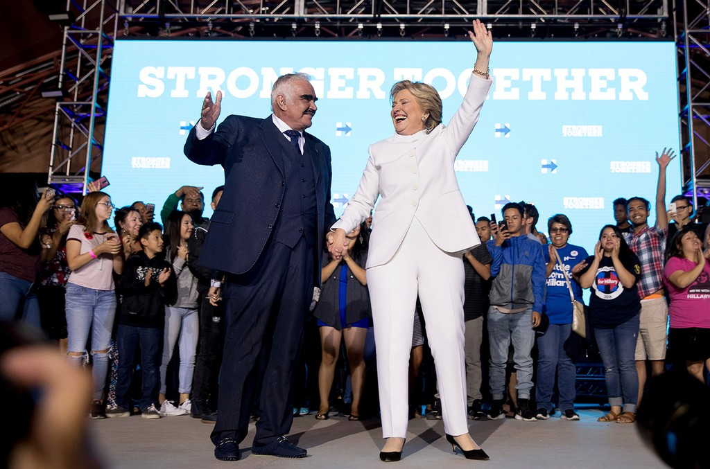 Democratic presidential candidate Hillary Clinton and Vicente Fernandez