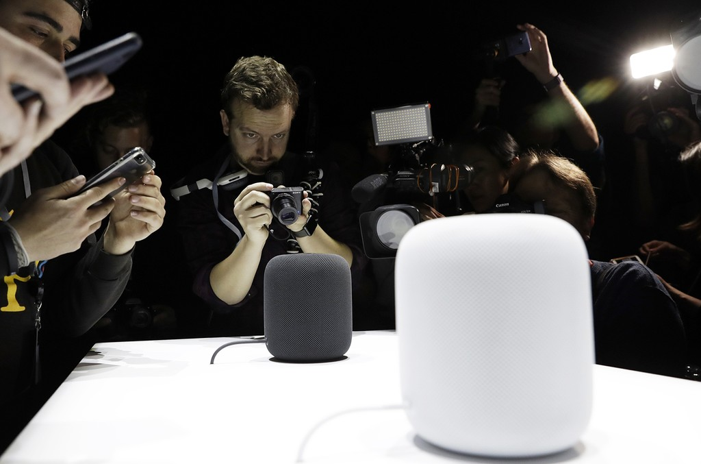 The HomePod speaker photographed at the Apple Worldwide Developers Conference on June 5, 2017 in San Jose, Calif.