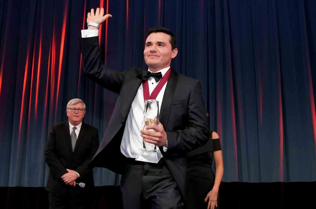 Horacio Palencia accepts the Regional Mexican Song of the Year award for 'Solo Con Verte' onstage during the 24th Annual BMI Latin Awards at the Beverly Wilshire Four Seasons Hotel on March 21, 2017 in Beverly Hills, Calif.