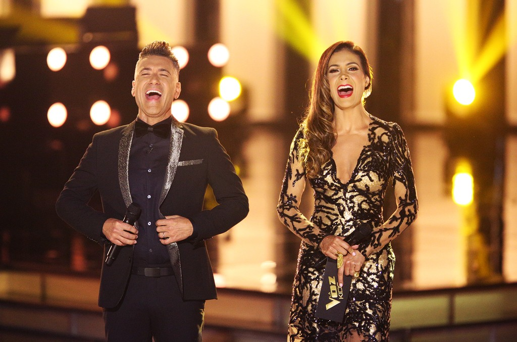Daisy Fuentes and Jorge Bernal onstage during the season finale of La Voz Kids.