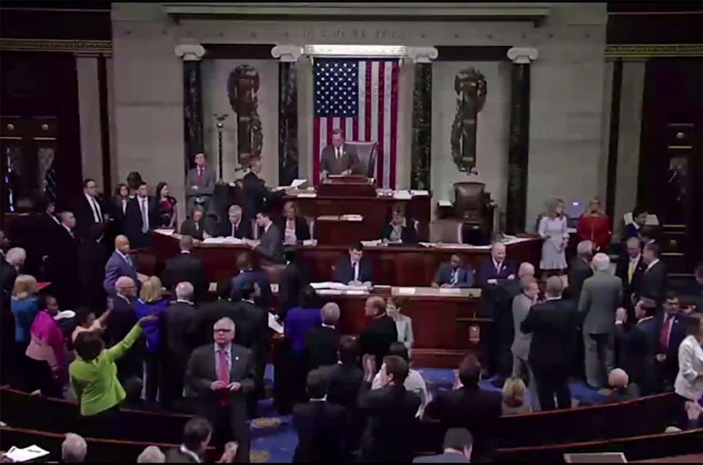 """Democrats waved and sang, """"nah nah nah nah, hey hey hey, goodbye,"""" to their GOP colleagues when the American Health Care Act passed the House of Representatives on May 4, 2017."""