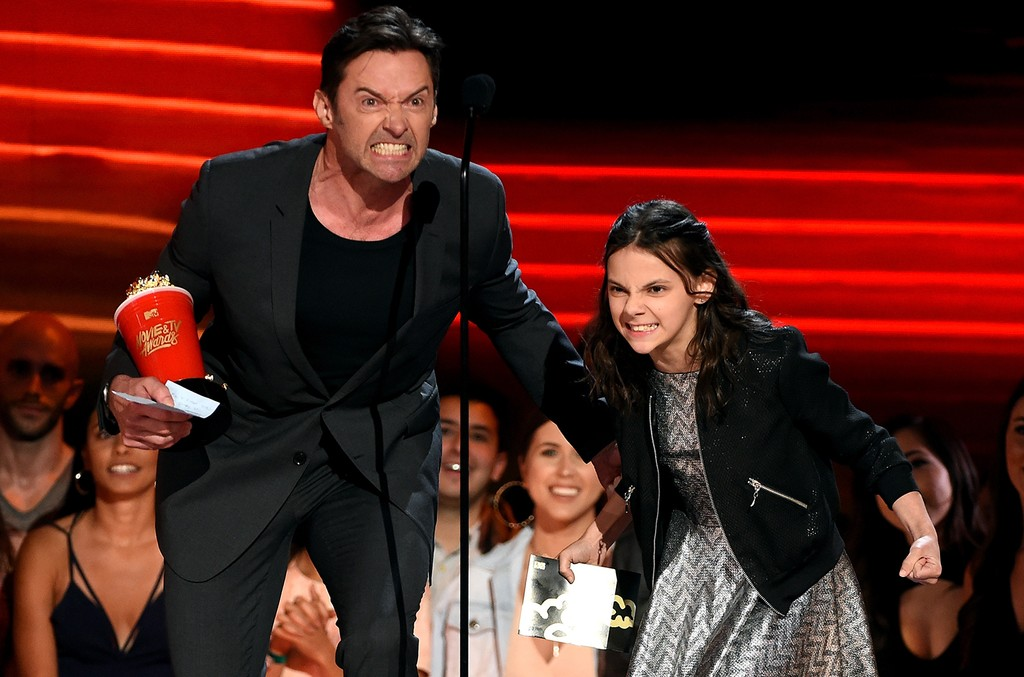 Hugh Jackman and Dafne Keen accept Best Duo for 'Logan' onstage during the 2017 MTV Movie And TV Awards at The Shrine Auditorium on May 7, 2017 in Los Angeles.