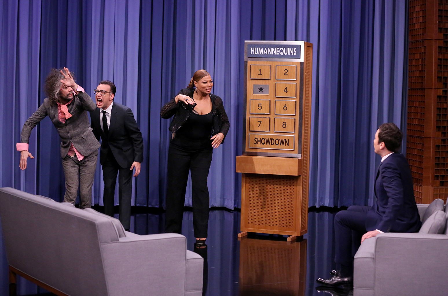 Wayne Coyne of The Flaming Lips, Fred Armisen, Queen Latifah and Jimmy Fallon play humannequins on 'The Tonight Show Starring Jimmy Fallon' on Jan. 10, 2017.