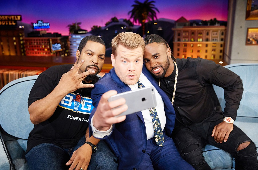 Ice Cube and Jason Derulo chat with James Corden during The Late Late Show with James Corden on May 16, 2017.