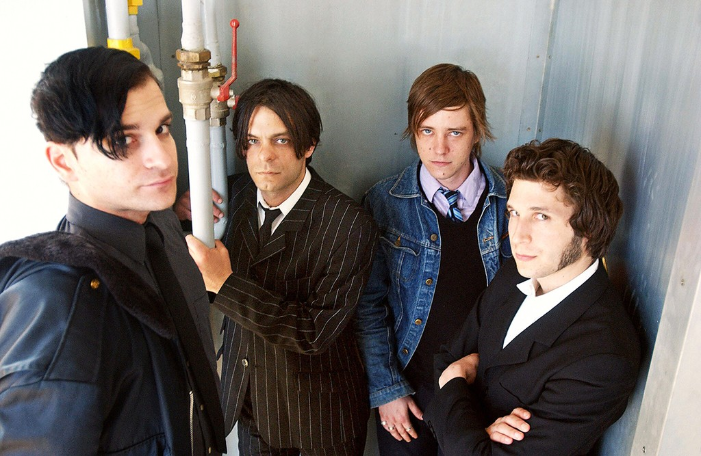 Interpol poses April 26, 2003 in Bourges as part of the 27th edition of the Printemps de Bourges music festival.