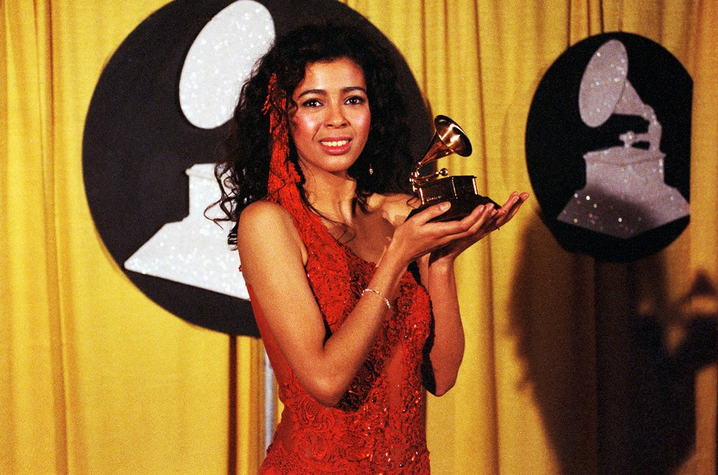 """Irene Cara holds the Grammy for  Best Pop Vocal performance by a Female for the song """"What a Feeling"""" from the movie Flashdance."""