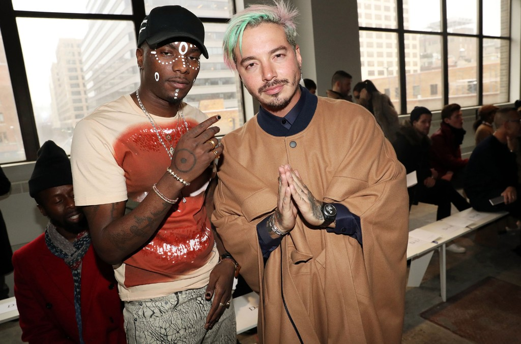 J Balvin and Young Paris attend the Carlos Campos - NYFW: Men's presentation at Skylight Clarkson North on Jan. 31, 2017 in New York City.