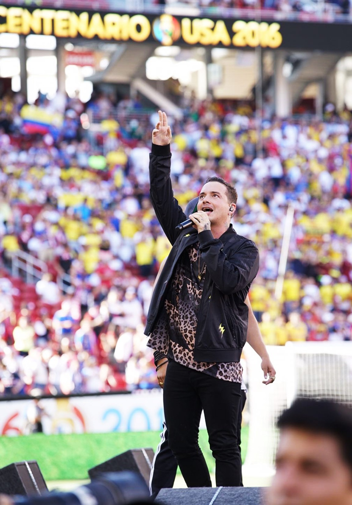 J Balvin performs at the Copa America Centenario opening ceremony in Santa Clara, Calif. on June 3, 2016.