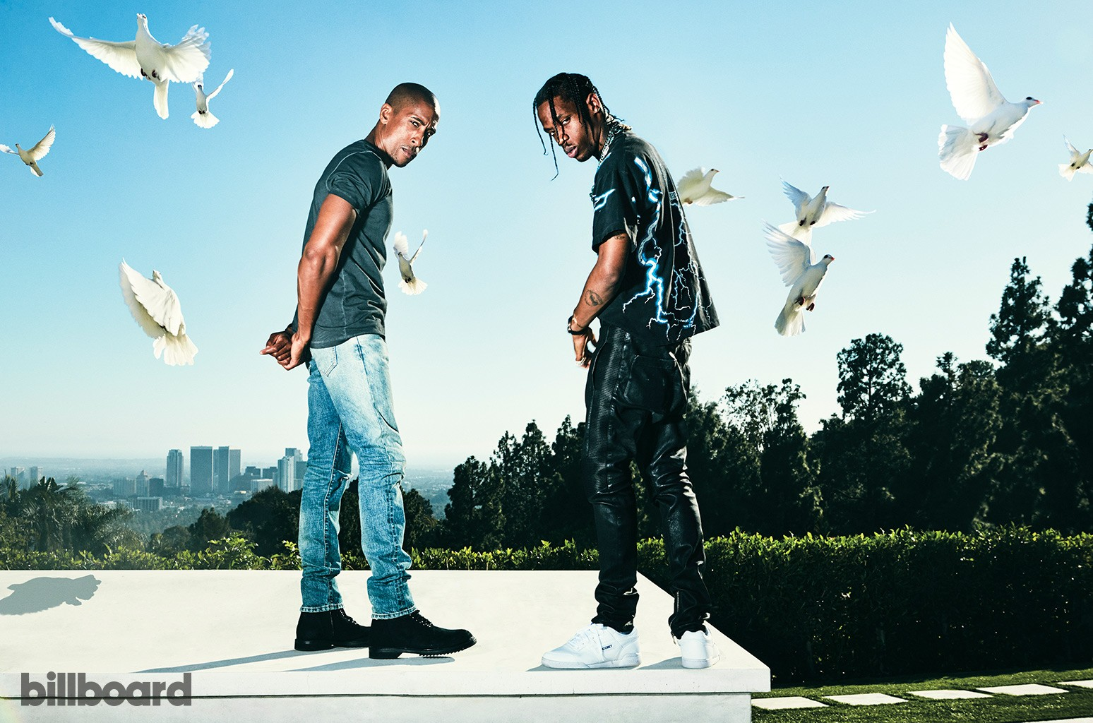 Larry Jackson and Travis Scott photographed on Oct. 6, 2016 in Beverly Hills.
