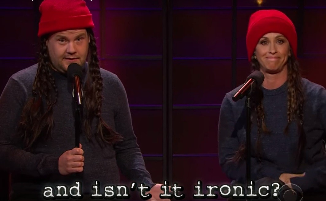 """Alanis Morissette and James Corden perform an """"updated"""" version of """"Ironic"""""""