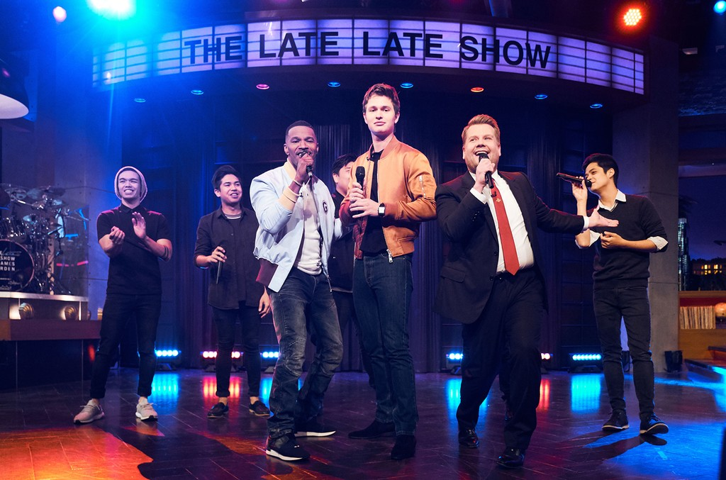 Jamie Foxx and Ansel Elgort perform in a Riff Off with James Corden during The Late Late Show with James Corden.