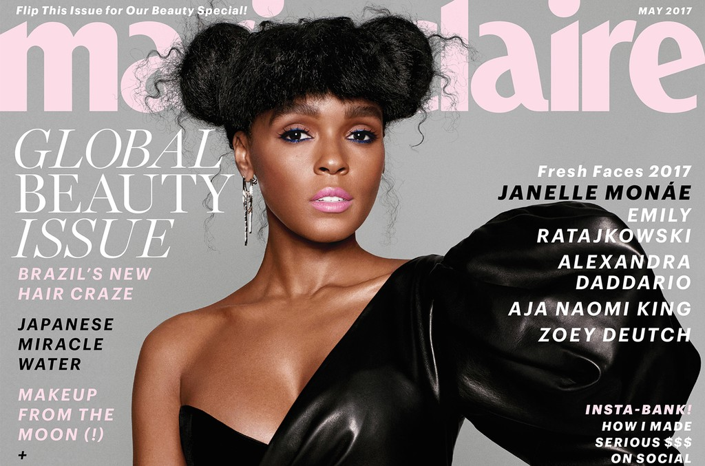 Janelle Monae on the cover of the May 2017 Fresh Faces issue of Marie Claire.